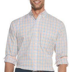 Mens Premium Essentials Plaid Print Button Down Shirt