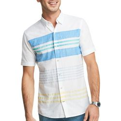 IZOD Mens Saltwater Dockside Stripe Short Sleeve Shirt