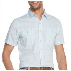 IZOD Mens Saltwater Chambray Short Sleeve Shirt