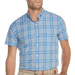 IZOD Mens Breeze Plaid Button Down Short Sleeve Shirt