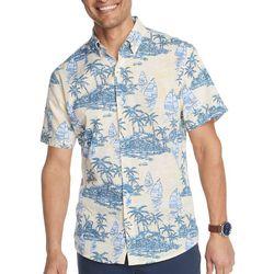 IZOD Mens Saltwater Palm Island Short Sleeve Shirt