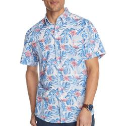 Mens Saltwater Hibiscus Flamingo Short Sleeve Shirt