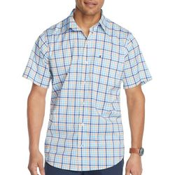 IZOD Mens Advantage Plaid Print Short Sleeve Shirt