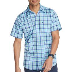 IZOD Mens Advantage Plaid Button Down Short Sleeve Shirt