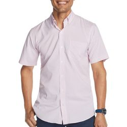 IZOD Mens Advantage Mini Fish Print Short Sleeve Shirt