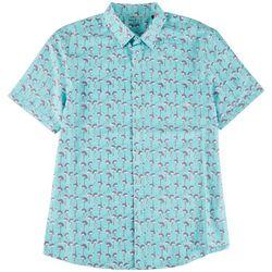 Marti Kat Mens Flamingo Palm All Over Print Casual Shirt
