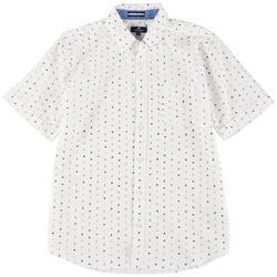 Mens Boat Print Woven Short Sleeve Shirt