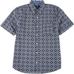 Sperry Mens Geometric Print Woven Short Sleeve Shirt