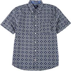 Mens Geometric Print Woven Short Sleeve Shirt