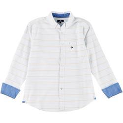 Mens Striped Long Sleeve Button Down Shirt