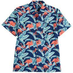 Caribbean Joe Mens Flamingo Print Short Sleeve Button
