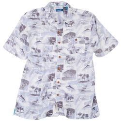 Caribbean Joe Mens Gone Fishing Short Sleeve Button Up Shirt