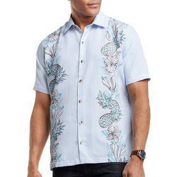 Mens Pineapple Floral Button Down Camp Shirt