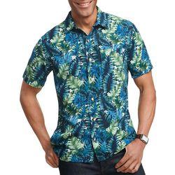 Mens Palm Leaf Button Down Camp Shirt