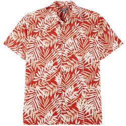 Van Heusen Mens Palm Leaf Print Button Down Camp Shirt