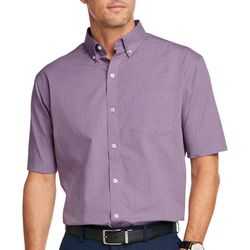 Mens Solid Woven Button Down Shirt