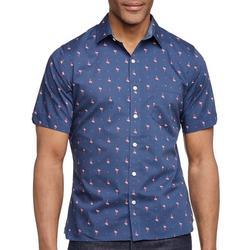 Mens Never Tuck Flamingo Button Down Shirt