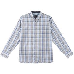 Mens Never Tuck Slim Fit Space Dyed Plaid Shirt