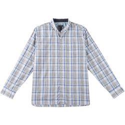 Van Heusen Mens Never Tuck Slim Fit Space Dyed Plaid Shirt