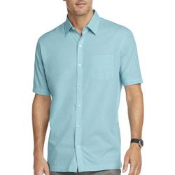 Mens Solid Button Down Camp Shirt