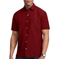 Mens Stripe Texture Button Down Camp Shirt