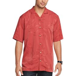 Van Heusen Mens Leaf Print Button Down Camp Shirt