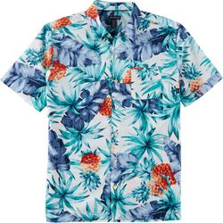Mens Sandwashed Tropical Button Down Camp Shirt