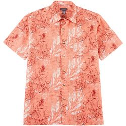 Van Heusen Mens Sandwashed Palm Leaf Button Down Camp Shirt