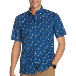 Mens Never Tuck Palm Print Button Down Shirt