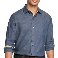 Van Heusen Mens Solid Woven Long Sleeve Shirt
