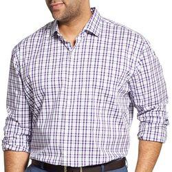 Van Heusen Mens Big & Tall Traveler Stretch Plaid Shirt