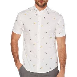 Cubavera Mens Pineapple Print Short Sleeve Shirt
