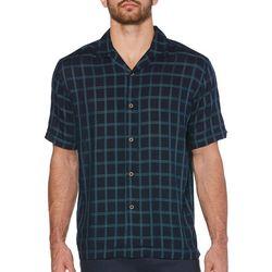 Cubavera Mens Windowpane Print Shirt