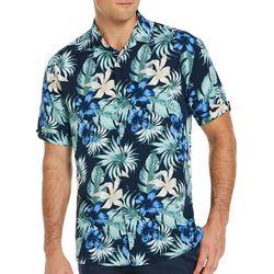 Cubavera Mens Leafy Floral Print Woven Shirt