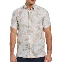 Cubavera Mens Palm Print Woven Shirt