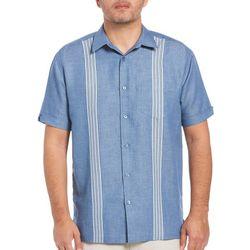 Cubavera Mens Multi Stripe Panel Pocket Shirt