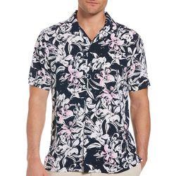 Cubavera Mens Bicolor Floral Woven Shirt
