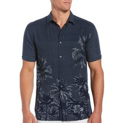 Cubavera Mens Striped Palms Collared Shirt