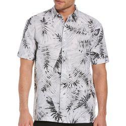 Cubavera Mens Linene-Blend Palm Print Woven Shirt