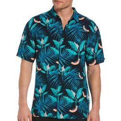 Cubavera Mens Papaya Tropical Print Woven Shirt
