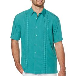 Cubavera Mens Two Tone Geometric Panel Embroidery Shirt