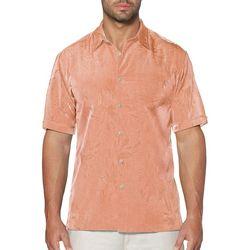 Cubavera Mens Short Sleeve Tonal Floral Jaquard Shirt