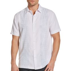 Cubavera Mens Panel Print Woven Shirt