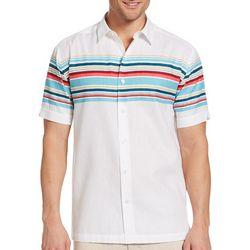 Cubavera Mens Horizontal Stripe Woven Shirt
