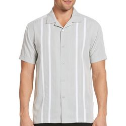 Cubavera Mens Stripe Panel Woven Shirt