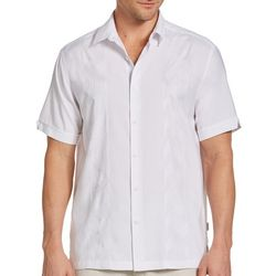 Cubavera Mens Embroidered Panel Woven Shirt