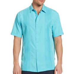 Cubavera Mens Tonal Geo Embroidered Panel Shirt