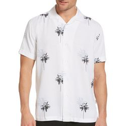 Cubavera Mens Palm Tree Print Woven Shirt