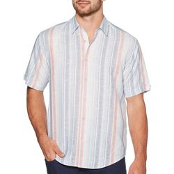 Cubavera Mens Stripe Print Yarn Dyed Shirt