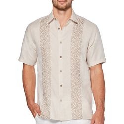 Cubavera Mens Leaf Embroidery Panel Linen Shirt
